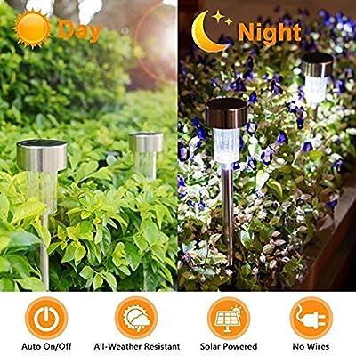 Solar Lights Outdoor[16pack]- Solar Outdoor Lighting Solar Pathway Lights Outdoor Garden Lights Waterproof Stainless Steel Landscape Lighting for Garden