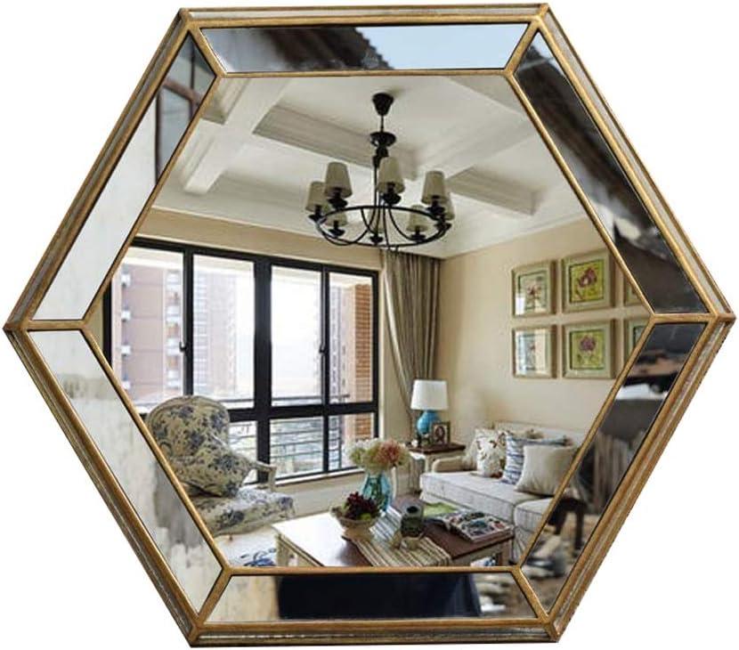 Bathroom Mirror Wall Mounted Mirror Vintage Hexagon Resin Frame Handmade Shabby Chic Home Hotel Vanity Restaurant Decorative Large Gold Mirror Amazon Co Uk Kitchen Home