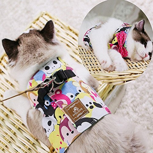 Stock Show Cat/Dog Walking Jackets Cat Harness Vest and Matching Lead Leash Set with Cute Bowtie, Detachable Leash Reteo British Style Hareness for Puppy Mediums Dogs Cats (L, Yellow with Smile Face) ()