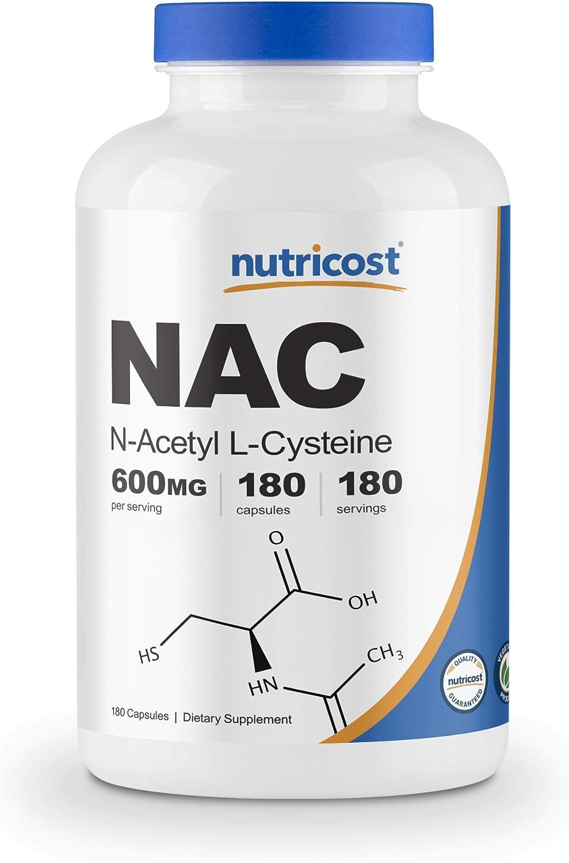 Nutricost N-Acetyl L-Cysteine (NAC) 600mg, 180 Capsules - Veggie Caps, Non-GMO, Gluten Free: Health & Personal Care