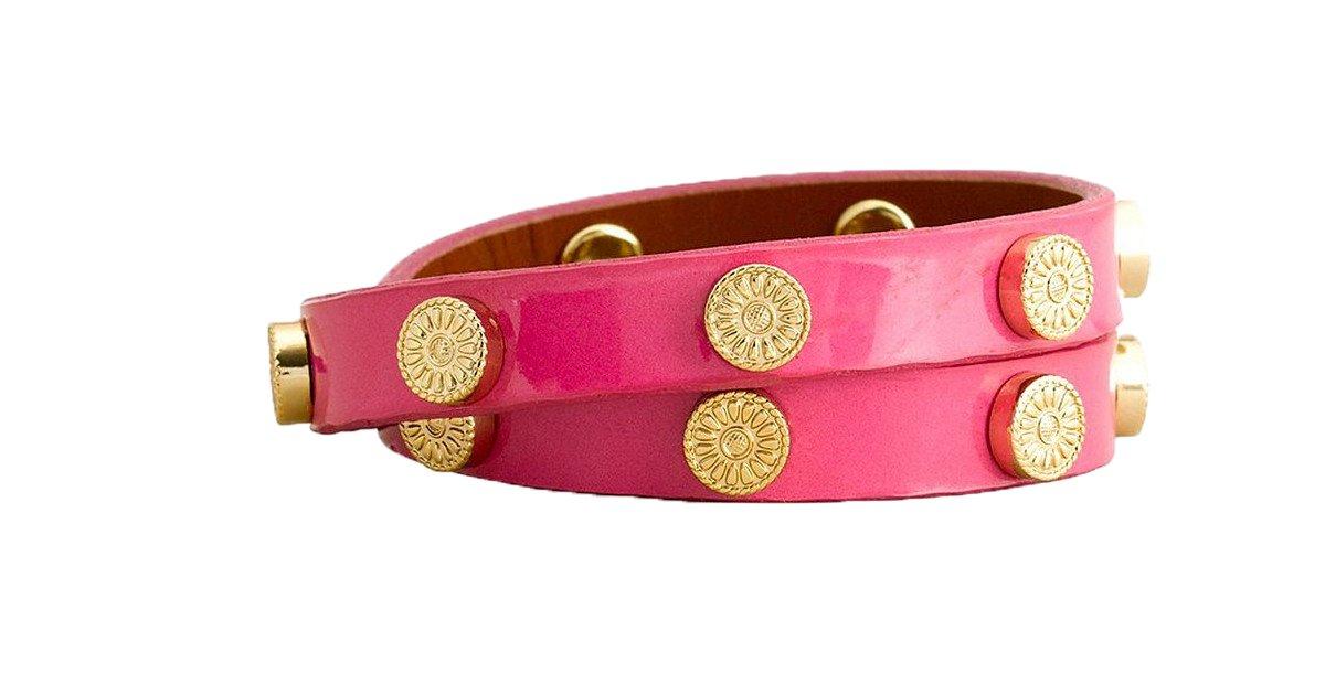 Tory Burch Double Wrap Foundation Leather Bracelet, Deep Rose