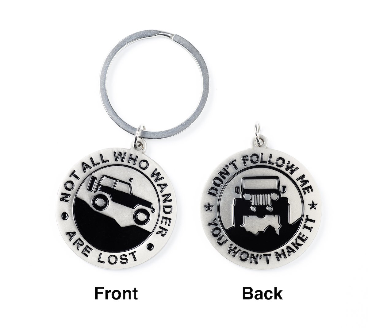 Key Chain for Jeep Enthusiasts 'Not All Who Wander Are Lost' 'Don't Follow Me You Won't Make It' Great Advice and Gift Idea For Any Jeep Owner Airisland AM-KC-JP-0001