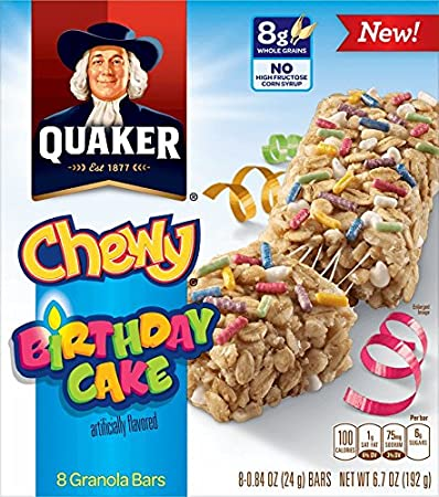 Image Unavailable Not Available For Color QUAKER CHEWY GRANOLA BARS Birthday Cake
