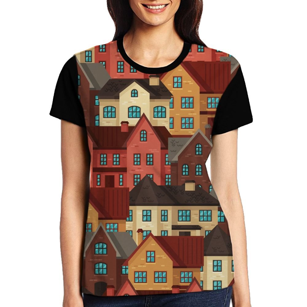 CKS DA WUQ Colored Houses Women's Raglan T-Shirt Compression Sport Baseball Tees Tops Undershirts