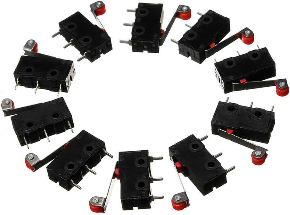 HiLetgo 10pcs KW12-3 Roller Lever Arm Micro Limit Switch Normally Open Close Limit Switch Black