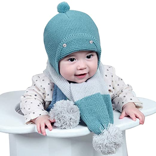 591ac10a3 2pcs Baby Girls Boys Winter Hat Scarf Set, Infant Toddler Newborn Baby Knit  Warm Beanie Cap Ski Hat + Scarf with Pom Pom Ball