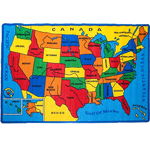 Kids Rug USA Map Area Rug 8 x 11 Non Slip Gel Backing Size approximate: 7' feet 2