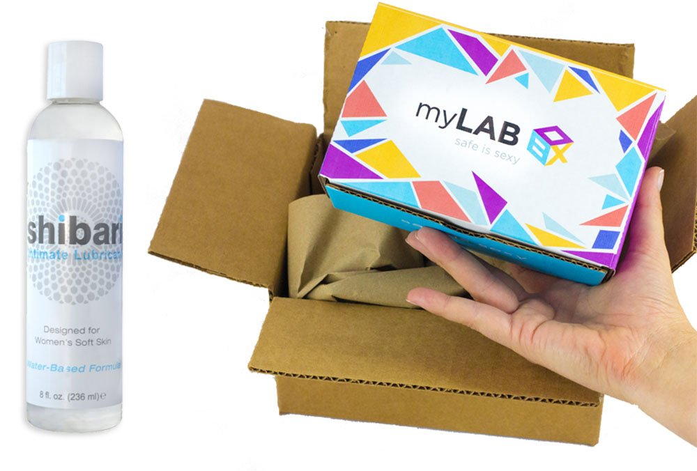 myLAB Box Bundle - Chlamydia/Gonorrhea/HIV/Trich Mail-In Test Kit (MALE, Lab-Certified Results in 3-5 days) + Shibari Intimate Lubricant (water-based, 8oz) by myLAB Box