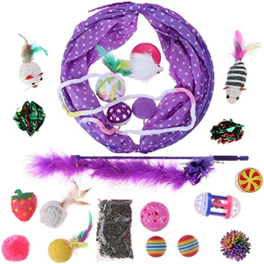 Túneles Para Gatos Artículos Para Gatos Tubos Y Túneles Para Animales Pequeños 20Pcs / Set Pet Play Toys Tubos De Túnel Plegables Pluma Plegable Cat Sticks Bolas Gatito Menta Juguetes Para Mas:
