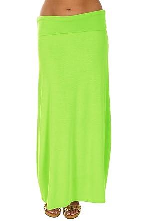 d51f3fd5549a1 Gazooz Semi Sheer Maxi Skirt a Long Skirt for Women in 7 Fluorescent ...