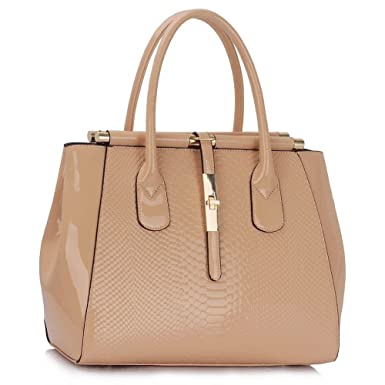 0fd0908308f4 LeahWard Ladies Faux Leather Quality Handbag Women s Fashion Designer Tote  Bag CWS00320A (Nude)  Amazon.co.uk  Clothing