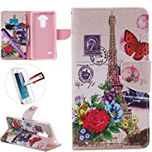 LG G4 Stylus LS 770 Case, ISADENSER Premium Mobile Cover Protect Skin Leather Cases Covers With Card Slot Holder Wallet Book Design For LG G Stylo LS770, Butterfly Tower