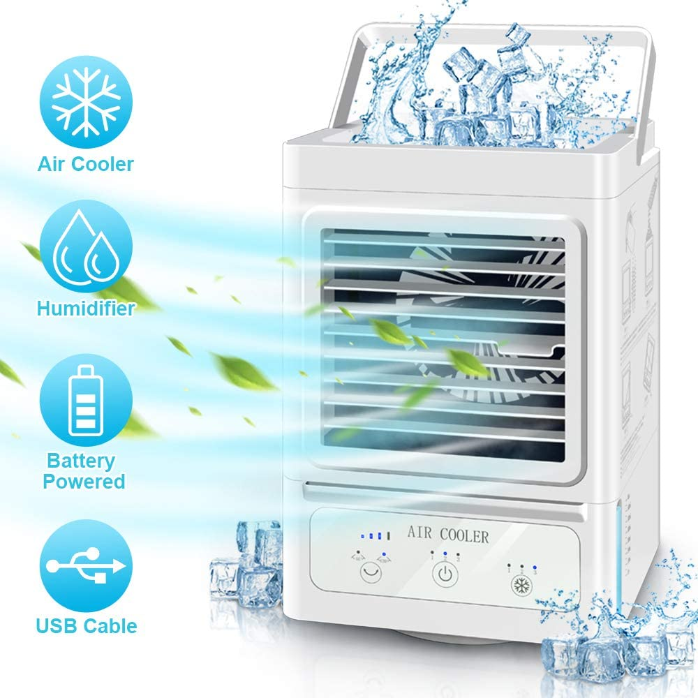 Personal Air Cooler, 5000 mAh Battery Operated 60° and 120°Auto Oscillation,Portable Air Conditioner Fan with 3 Refrigeration and 3 Wind Speeds,Ultra Quite Cooling Fan for Outdoor Home and Office