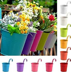 Cozywind 10pcs Macetas Colgantes de Colores, Metálicos Maceteros Exterior para Plantar Pequeñas Plantas, Decoración Jardin Balcón Terraza