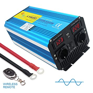 Yinleader inversor de Corriente Onda Pura 3000W Pico 6000W Transformador De 12v A 230v convertidor USB LED 2 Enchufe con Control Remoto inalámbrico ...