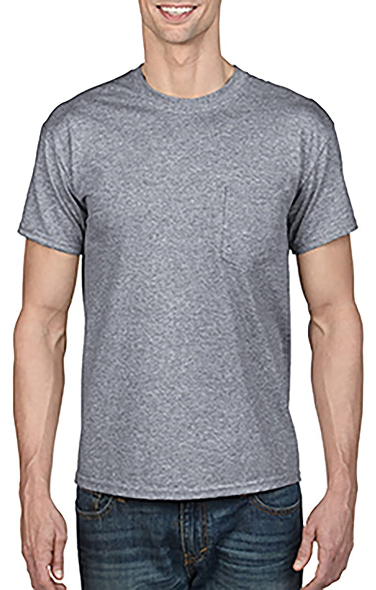 XX-Large Gildan Adult 5.6 oz 50//50 Short Sleeve T-Shirt w//pocket in Sport Grey