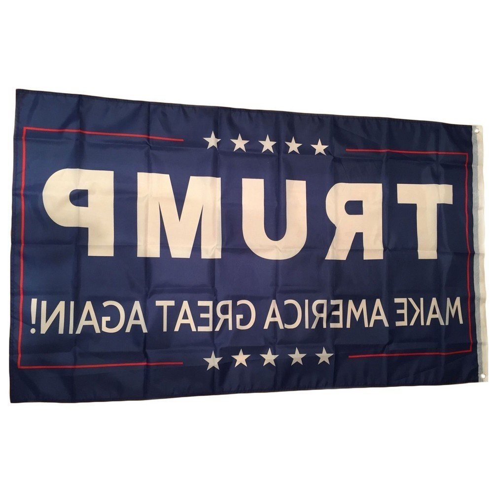 JUNZENIA Trump and American Flag Combo MAGA Flag USA Embroidered Stars and Stripes Flag