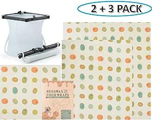 Reusable Silicone Food Storage & Beeswax Food Wraps | Eco-friendly & Sustainable | Reduce Plastic | FDA Approved | Silicone Food Storage 2 Pack & Food Wrap - 1 Small, 1 Medium, 1 Large