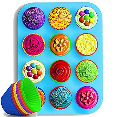 Cooler Kitchen Light Blue Silicone Muffin & Cupcake Pan With Set Of 12 Silicone Muffin Cups