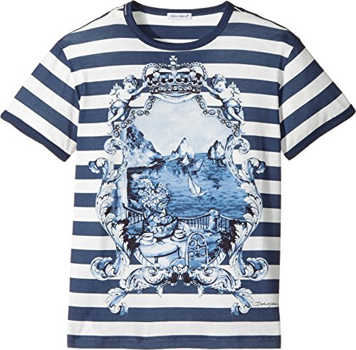 Dolce & Gabbana Kids Boy's Capri Bold Stripe Maiolica T-Shirt (Big Kids) Blue 10 Big Kids by Dolce & Gabbana