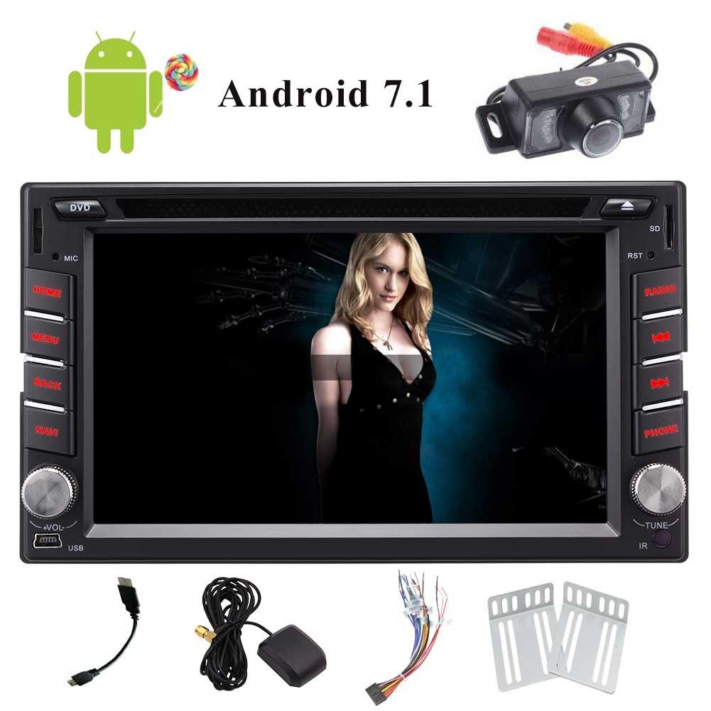 アンドロイド7.1 OS 6.2インチLCDマルチメディアHDタッチスクリーンのBluetoothのWiFi / 3G / 4G /ミラーカーラジオUSB / SD +無料のリアビューカメラ付きダッシュAutoradio DVDプレーヤーでインダッシュカーステレオレシーバー B07CG5NJJ2