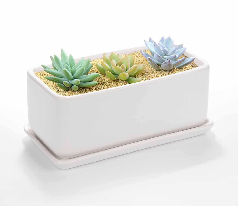 Vencer 10 Inch Rectangular Modern Minimalist Ceramic Succulent Planter Pot - Window Box with Saucer,Office Desktop Potted Stand,White,VF-001W
