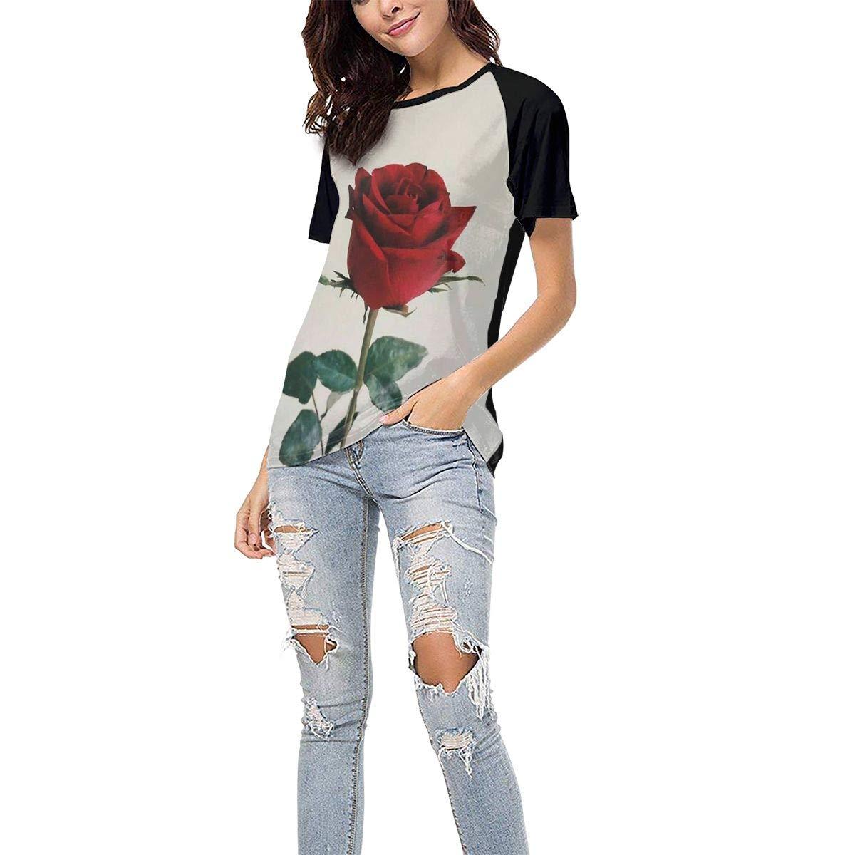 QWXZC Rose Womens Short Sleeves Baseball Tee Casual Raglan Shirt Baseball Raglan T-Shirt.Black.