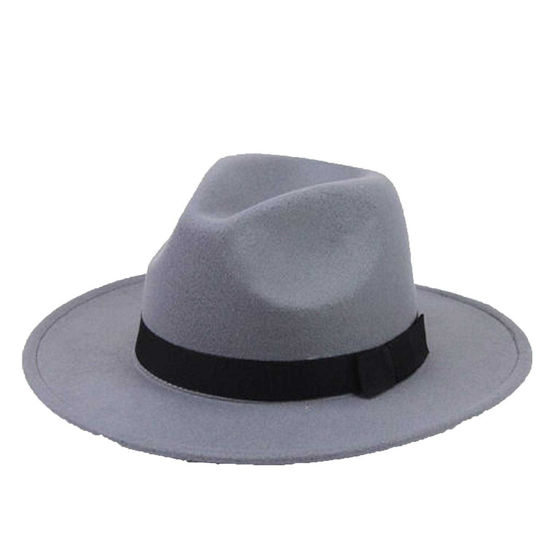 Fedora Hats Mens Women Thick Wool Vintage Felt Fedora Wide Brim Bowler Trilby Hat Cap Black Gray