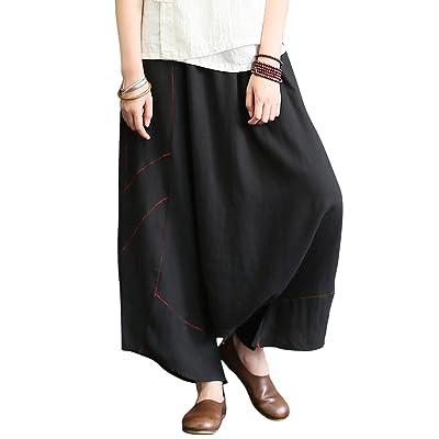 Aeneontrue Women's 100% Linen Harem Pants with Elastic Waist Wide Leg Trousers Embrodiery Design at Women's Clothing store