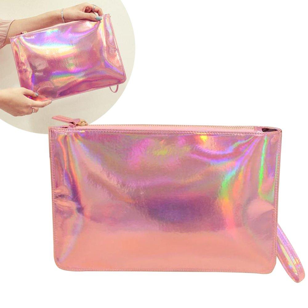 Fashion Women's Holographic Leather Clutch Bag Purse Simple Fashion Laser Envelope Evening Wristlet Handbag, portable waterproof Fashion Focus Cosmetic bag,Shining Evening Bag, Wedding Party (Pink)