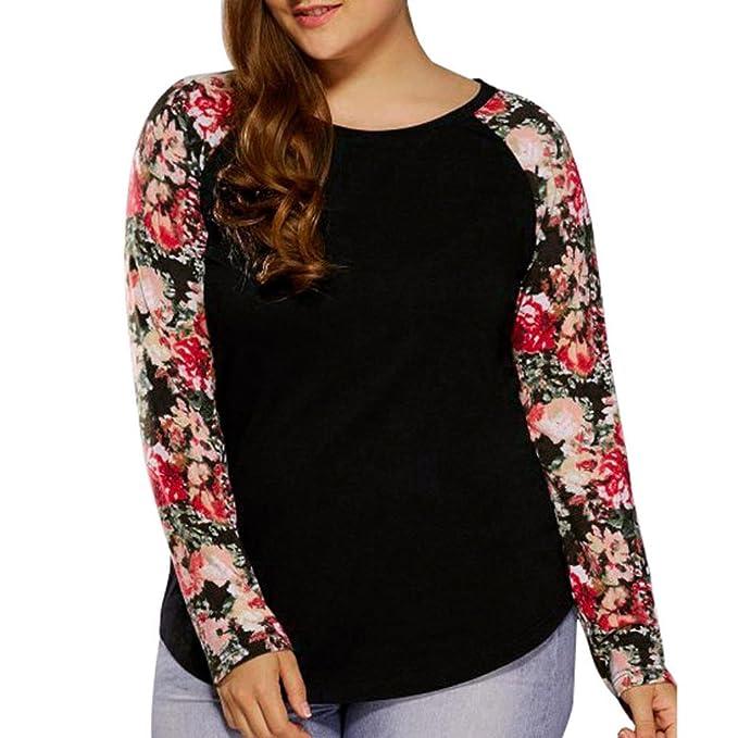DAYLIN Mujer Moda Talla Grande Camisas Manga Larga Cuello Redondo Floral Blusa: Amazon.es: Ropa y accesorios