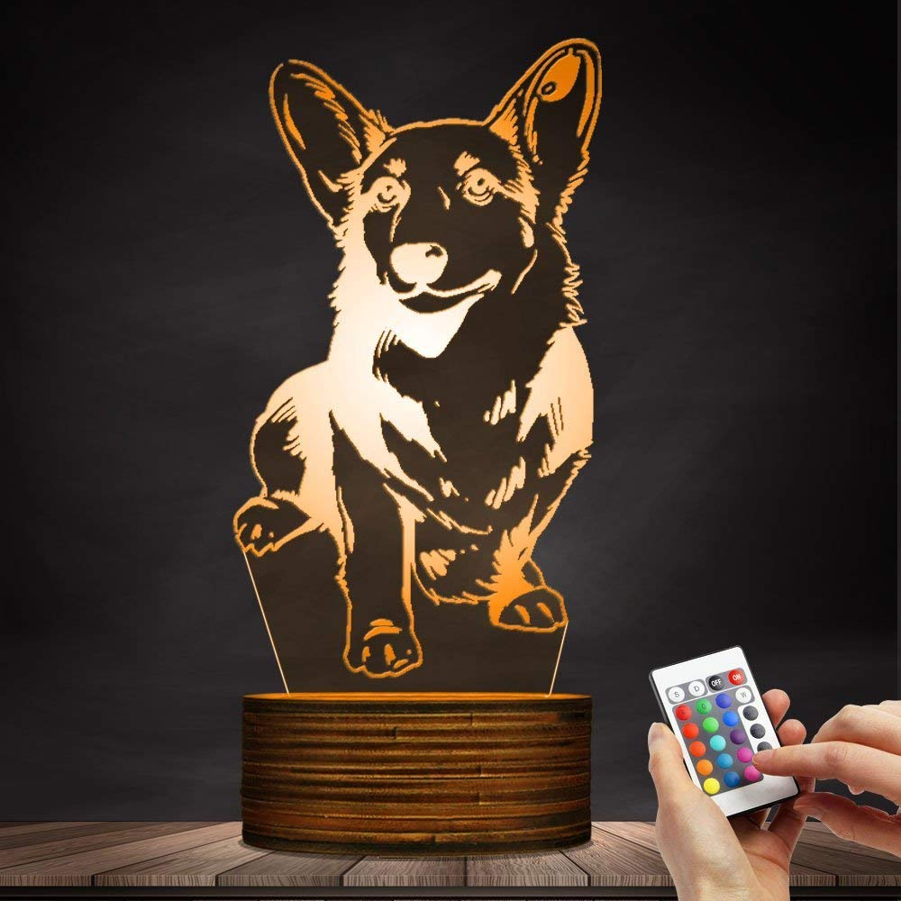 Novelty Lamp, Night Light 3D LED Lamp Optical Illusion Corgi Dog, 16 Color Remote Control Changes, with USB Charging Connector, Children's Birthday Gift Bedroom Decoration,Ambient Light by LIX-XYD (Image #5)