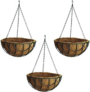 "Rocky Mountain Goods Hanging Flower Basket with Natural Coconut Liner - Thick coco liner hanging planter for less watering - Extra strength chain and hook included (3, 14"")"