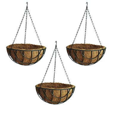 Rocky Mountain Goods Hanging Flower Basket with Natural Coconut Liner - Thick coco liner hanging planter for less watering - Extra strength chain and hook included (3, 14 )