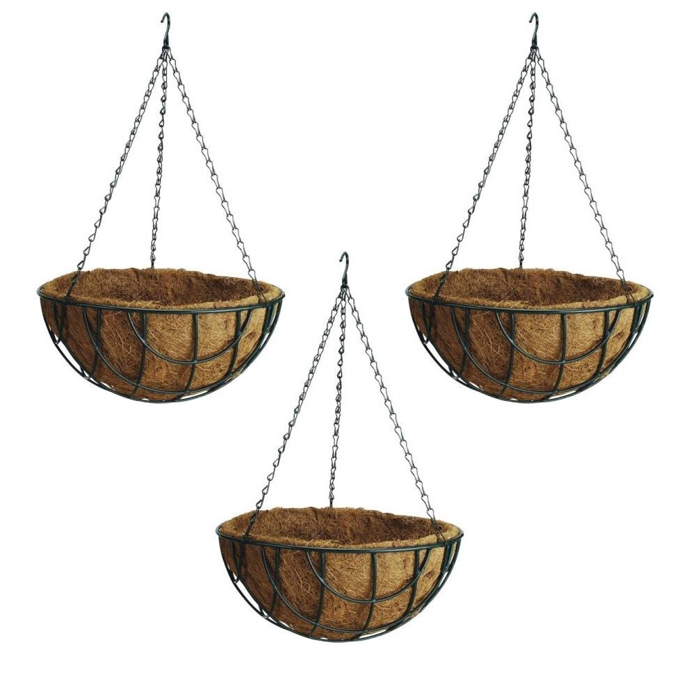 Rocky Mountain Goods Hanging Flower Basket with Natural Coconut Liner - Thick coco liner hanging planter for less watering - Extra strength chain and hook included (3, 14'')