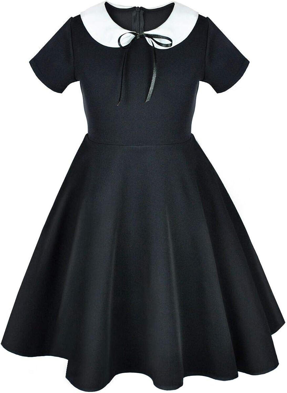 Abbyabbie.Li Girls Long Sleeve Uniform Dresses Casual Peter Pan Collar Fit and Flare Skater Dress 2-12 Years