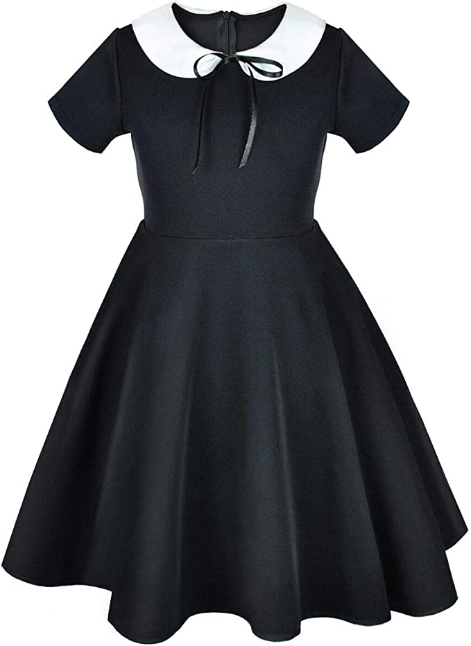 Vintage Style Children's Clothing: Girls, Boys, Baby, Toddler Girls Short and Long Sleeve Casual Vintage Peter Pan Collar Fit and Flare Skater Party Dress 2-12 Years $25.49 AT vintagedancer.com