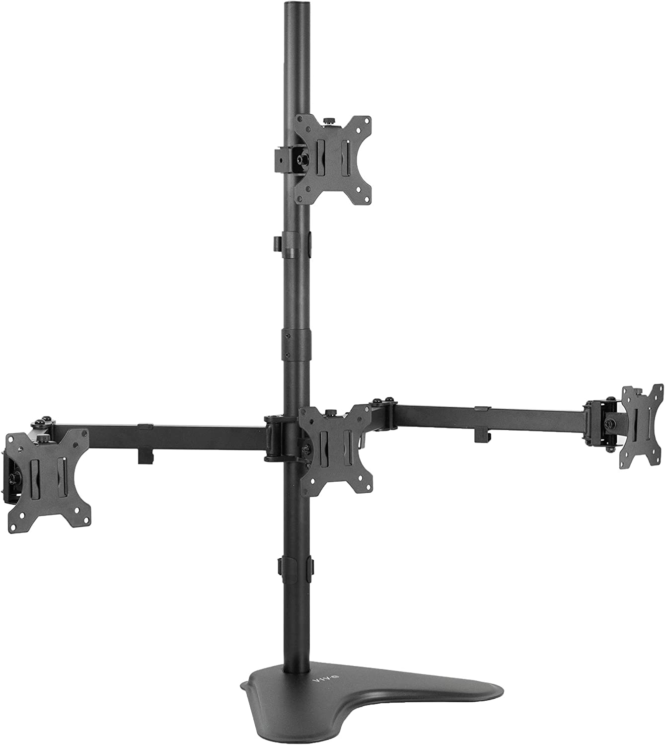 VIVO Quad 13 to 24 inch LCD Monitor Mount, Freestanding Desk Stand, 3 Plus 1 Articulating Display, Holds 4 Screens, VESA up to 100x100mm, STAND-V104B