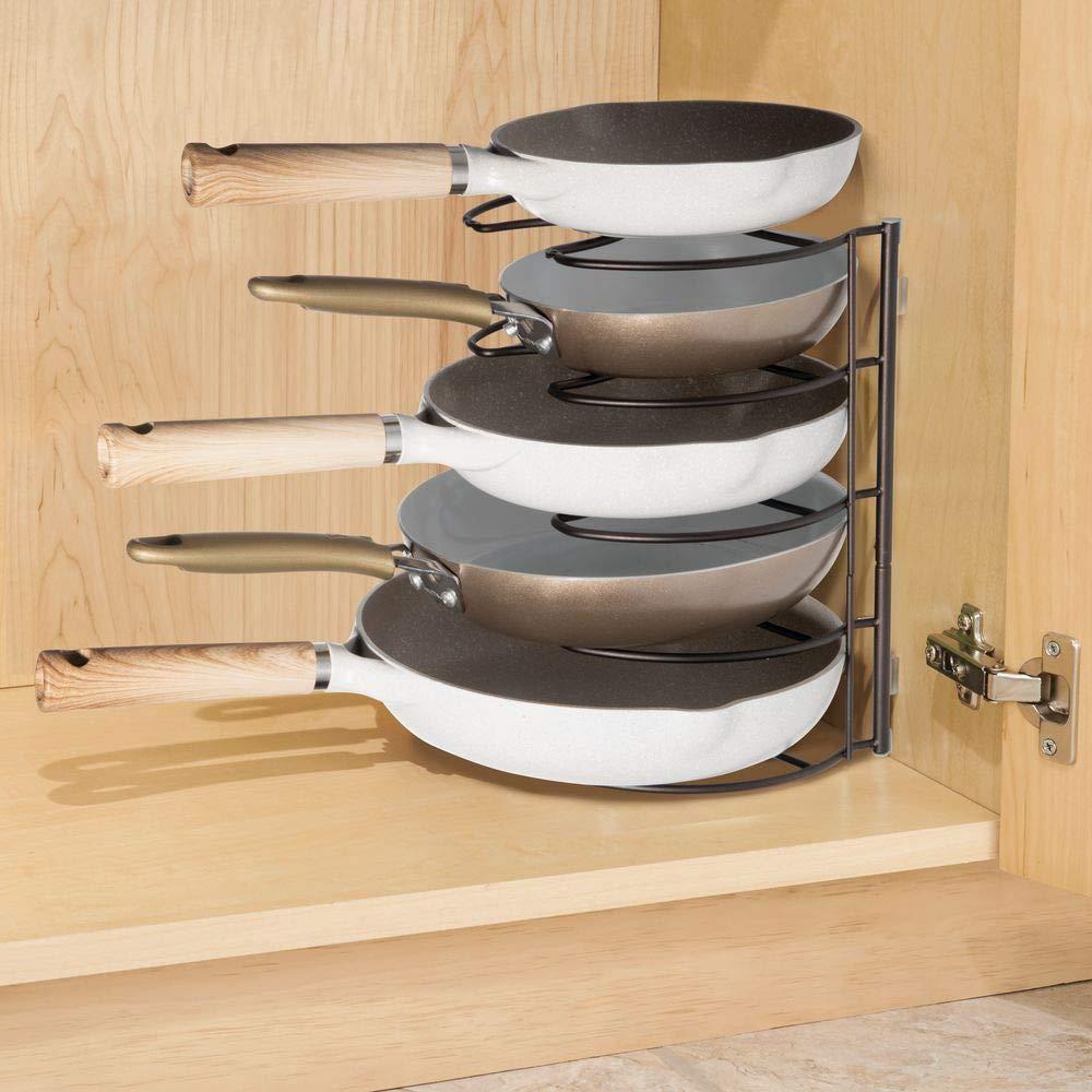 MetroDecor mDesign Organizadores de sartenes - Elegantes Accesorios para Muebles de Cocina - Estanterías para Cocina para organizar sartenes y Tapas de ...