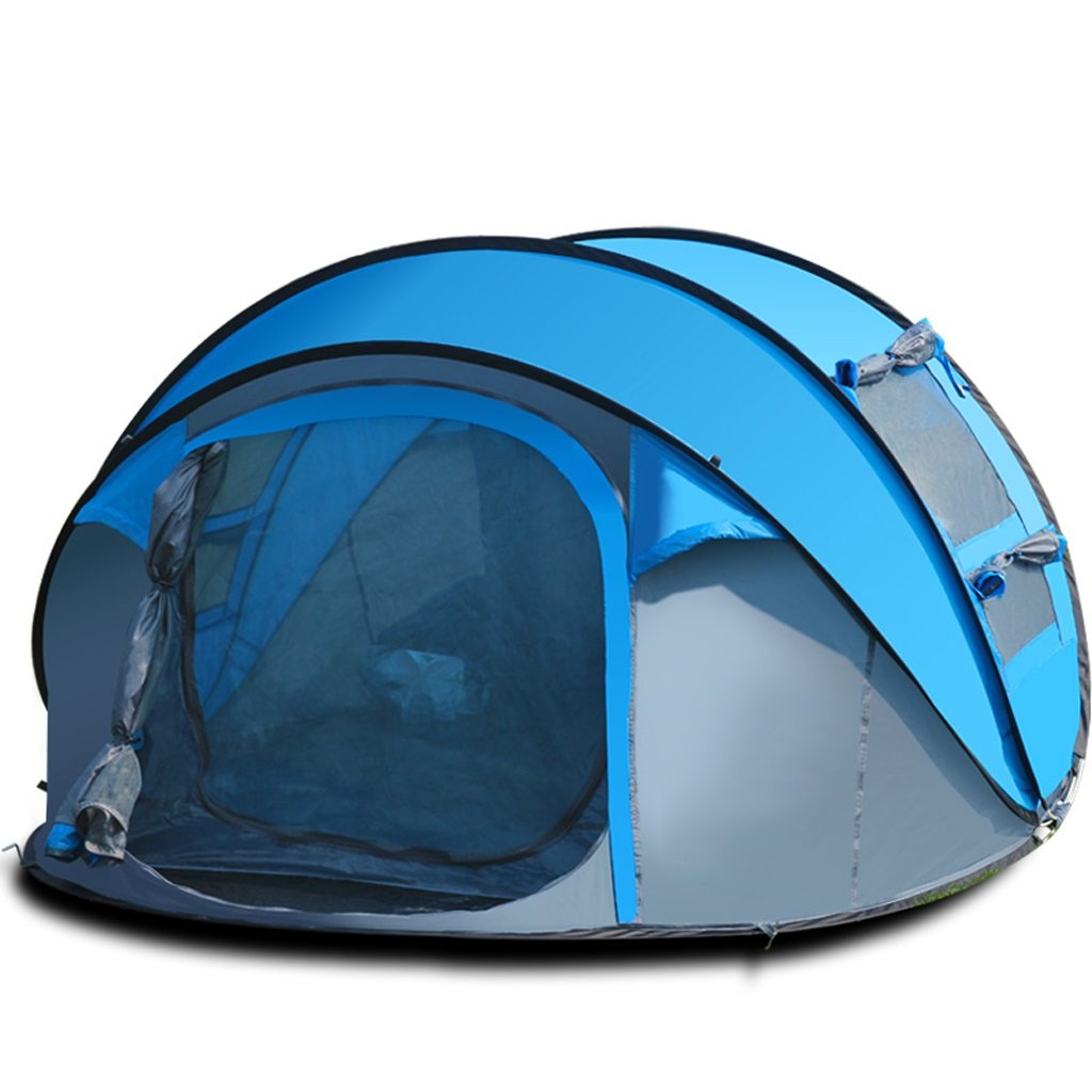 LINGZHIGAN 3-4人のための大きな屋外スペースキャンプテント雨と風のスピード自動オープンテントテントの投げ手 (色 : Blue) B07F3YHLJY Blue Blue