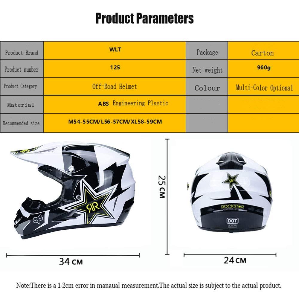 S, M, L, XL WanSheng Motocicleta Motocicleta Cascos y m/áscara a Prueba de Viento Y Guantes Y Gafas D.O.T est/ándar Ni/ños Quad Bike ATV Go Karting Casco Rock Star ,Blue,S55~56CM