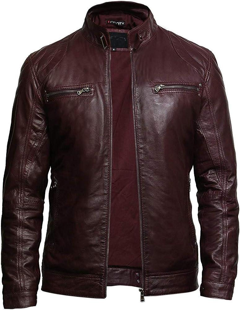 Brandslock Mens Genuine Leather  Biker Jacket Waxed  Burgundy