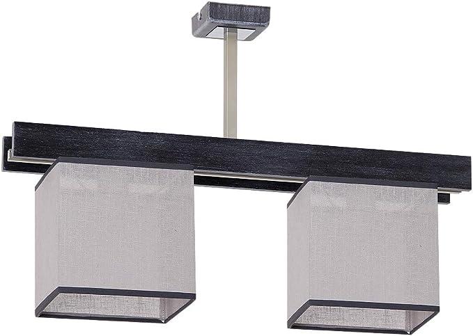 Elegante lámpara de techo en color negro y gris estilo Bauhaus 3 x E27 hasta 60 W 230 V de tela tejida y metal para cocina, comedor, iluminación interior: Amazon.es: Iluminación
