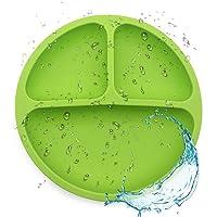 Siliconen bord voor baby's, siliconen borden voor baby's en kinderen Stay Put bord met zuignap BPA-vrije kom…