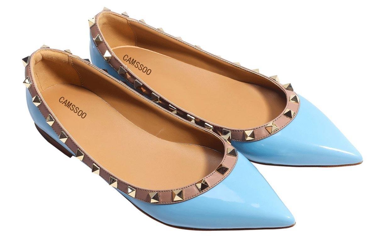CAMSSOO Women's Classic Rivets Pointy Toe Slip on Comfort Flats Dress Pumps Shoes B06Y65B23V US11/EUR45|Light Blue Patant Pu