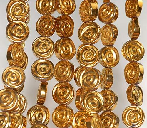 10MM Gold Hematite Gemstone Rose Flower Carved 10MM Loose Beads 16