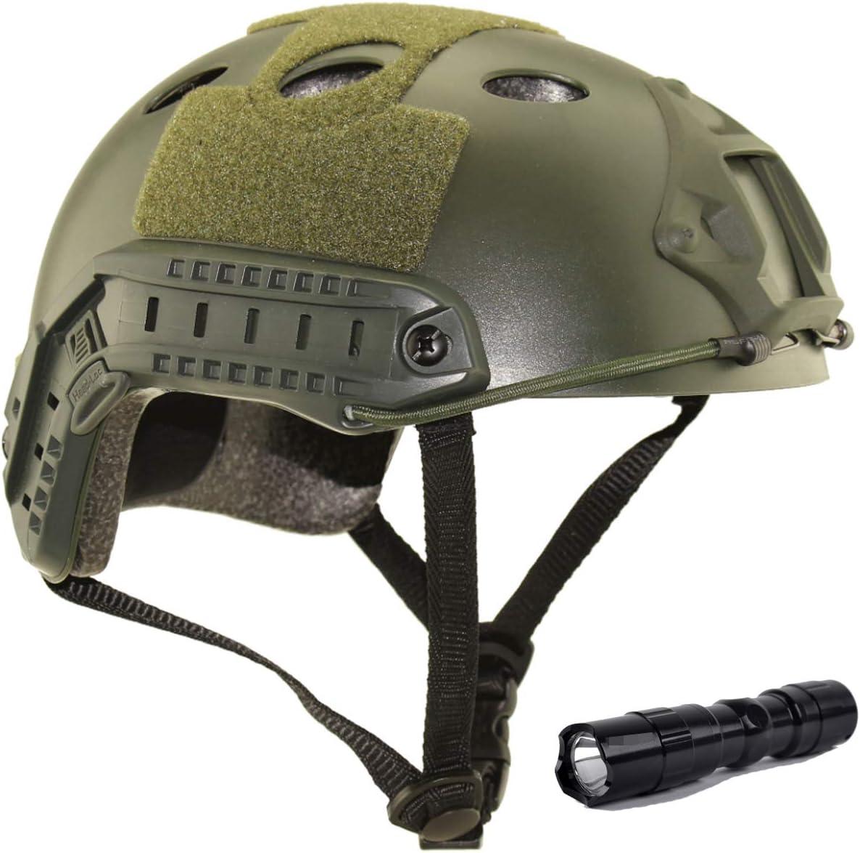 QMFIVE Casco táctico Estilo Militar, Casco de Airsoft Paintball Casco para con protección Gafas para Airsoft o Paintball, con Gafas, para Combate en Espacios Cerrados