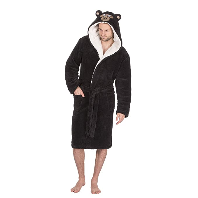 dcb73850224 Mens Snuggle Fleece Animal Hooded Dressing Gown. Charcoal Monkey or Grey  Bear. Sizes M L
