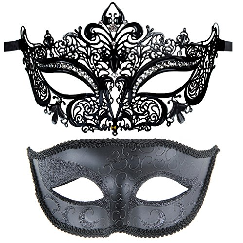 One Pair Couples Half Wedding Venetian Masquerades Masks Party Costumes Accessory (Venetian Half Mask)