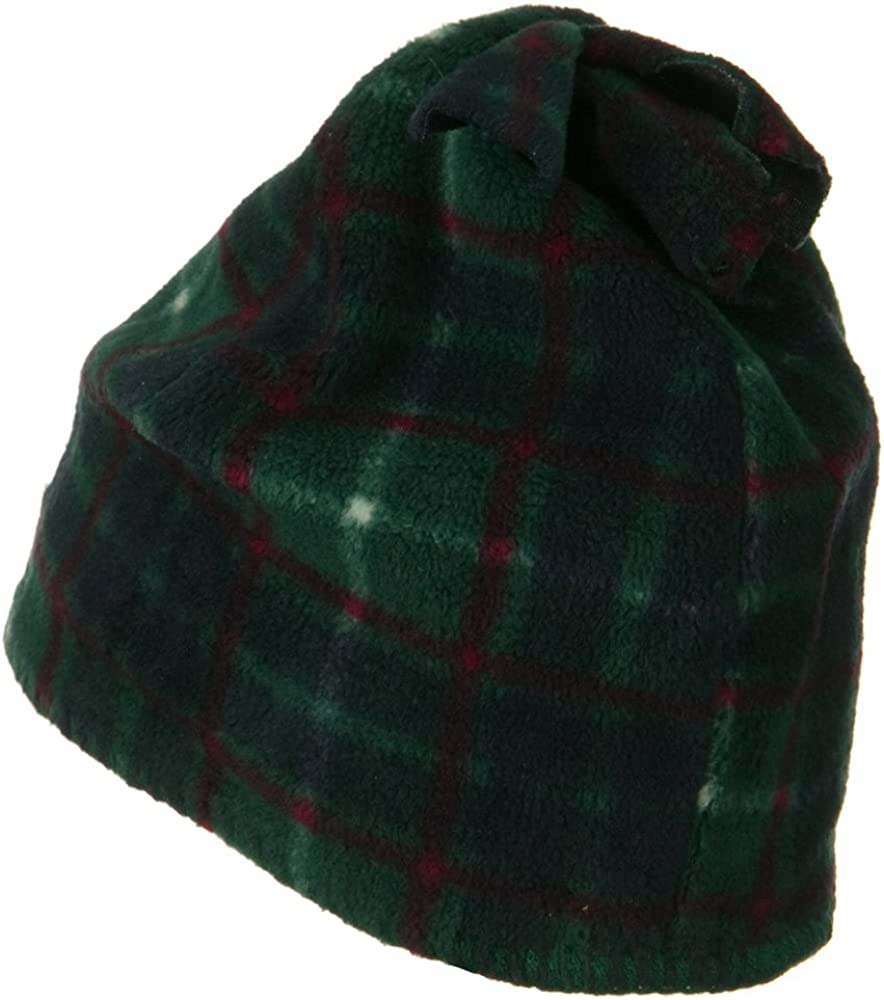 Dark Green W15S39A Plaid Design Winter Fleece Hat